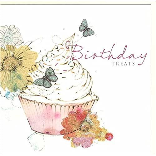 グリーティングカード 誕生日/バースデー 「カップケーキと蝶と花」 お菓子 フラワー おしゃれ メッセージカード ギフト 贈り物 手紙 封筒付き