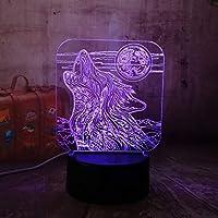 オオカミ3D LEDアクリルRGBナイトライトUSBタッチコントロールホームDecroキッズデスクランプ子クリスマスランプ