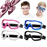 COMLZD [4 Pack] Child Safety Glasses Kids Protective Goggles Science Experiment Lab Eye Protection Ballistic Resistant Lens Anti-Fog Adjustable fit for 5-12 Years Old Boy Girl Adult