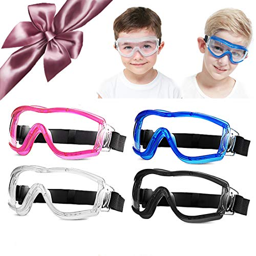 [4 PACK]Child Safety Glasses Kids Protective Goggles Science Experiment Lab Eye Protection Ballistic Resistant Lens Anti-fog Adjustable fit for 5-12 Years Old Boy Girl Adult