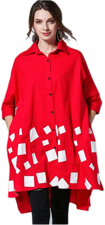 QJKai Women's Plus Size Shirt Dress, Fashion Printing Irregular Hem Long Shirt Cotton Loose Button Casual Tops TShirt with Pockets