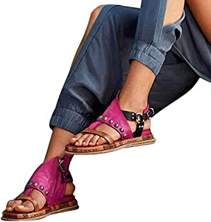 Women Comfy Platform Sandal Flat PU Leather Sandals Summer Open Toe Flip Flop Sandals Orthopedic Bunion Corrector Casual Retro Gladiator Sandals Ladies Beach Shoes,Red,41