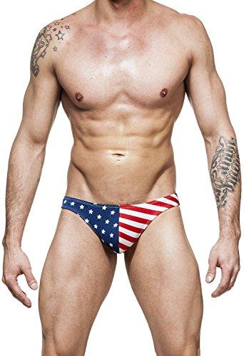 Gary Majdell Sport Herren-Badeanzug mit USA-Flagge Gr. S 7-9, Marineblau/Rot gestreift