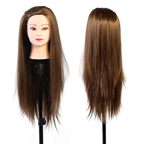 Tête studio cheveux cheveux mannequins maquillage tête de poupée de coiffeur doré blond blond 60 cm fibre résistant aux températures élevées cosmétologie pratique