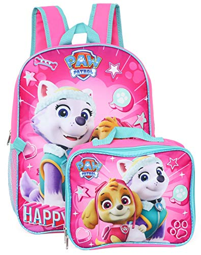 """Nickelodeon Girl Paw Patrol 16"""" Backpack With Detachable Matching Lunch Box"""