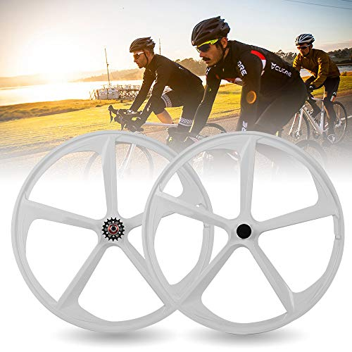 DYRABREST 700C 5 Spoke Fixed Fixed Gear Wheel Set Single Speed Front&Rear Bicycle Mag Wheel Rims Set (White)