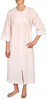 Women's Long Seersucker Zipper Robe, with 3/4 Sleeves, and Two Inset Side Pockets