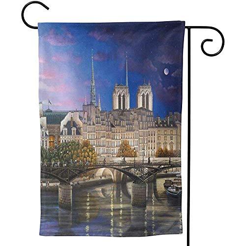 Drapeau de Jardin de Notre Dame de Paris Drapeau décoratif de Maison en Plein air Tissu Premium