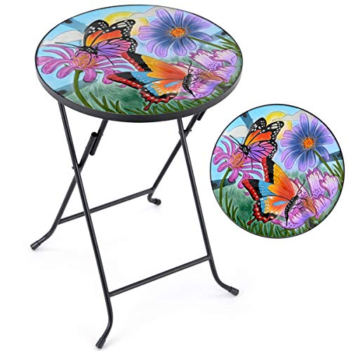 CHRISTOW Bistro Table Glass Top, Small Folding, Garden Gift, Outdoor Patio Decoration, Hand Painted, UV Resistant, Butterfly