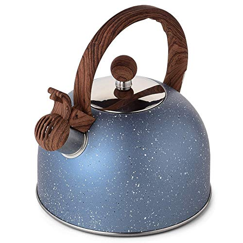 Tea Kettle, VONIKI 2.5 QT Tea Kettles Stovetop Whistling Tea Pot, Food Grade Stainless Steel Teapot, Water Kettle for Stove Top Induction Stone Marble Finish Teapots With Ergonomic Handle (Dark Blue)