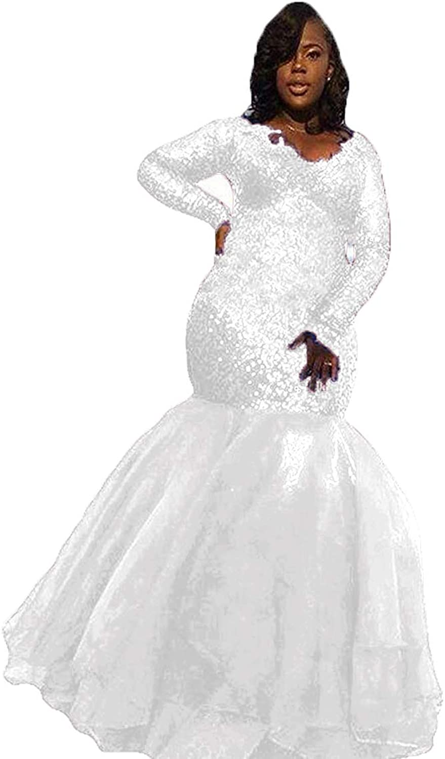 WZW Plus Size Mermaid Sequin Long Prom Dress Formal Evening Wedding Party Gown