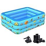 Aufblasbar Planschbecken Schwimmbecken Kinderpool Aufstellpool Gartenpool Pool Schwimmbad Babypool rund für Kinder Garten Terrasse Balkon mit Wasserspielzeug/blue / 130x85x50cm