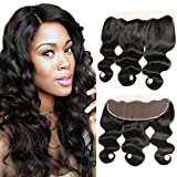 Dai Weier 13x4 Lace Frontal Closure Ear To Ear Bleached Knots Brazilian Body Wave Free Part Virgin Remy Human Hair 130% Density Band Only 12 Inch Frontal