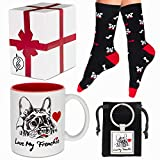 French Bulldog Gifts French Bulldog Lover Gift Set with French Bulldog Themed Coffee Mug Socks and Keychain Frenchie Gifts for Women and Men Perfect for Christmas Birthday Or Any Special Occasions