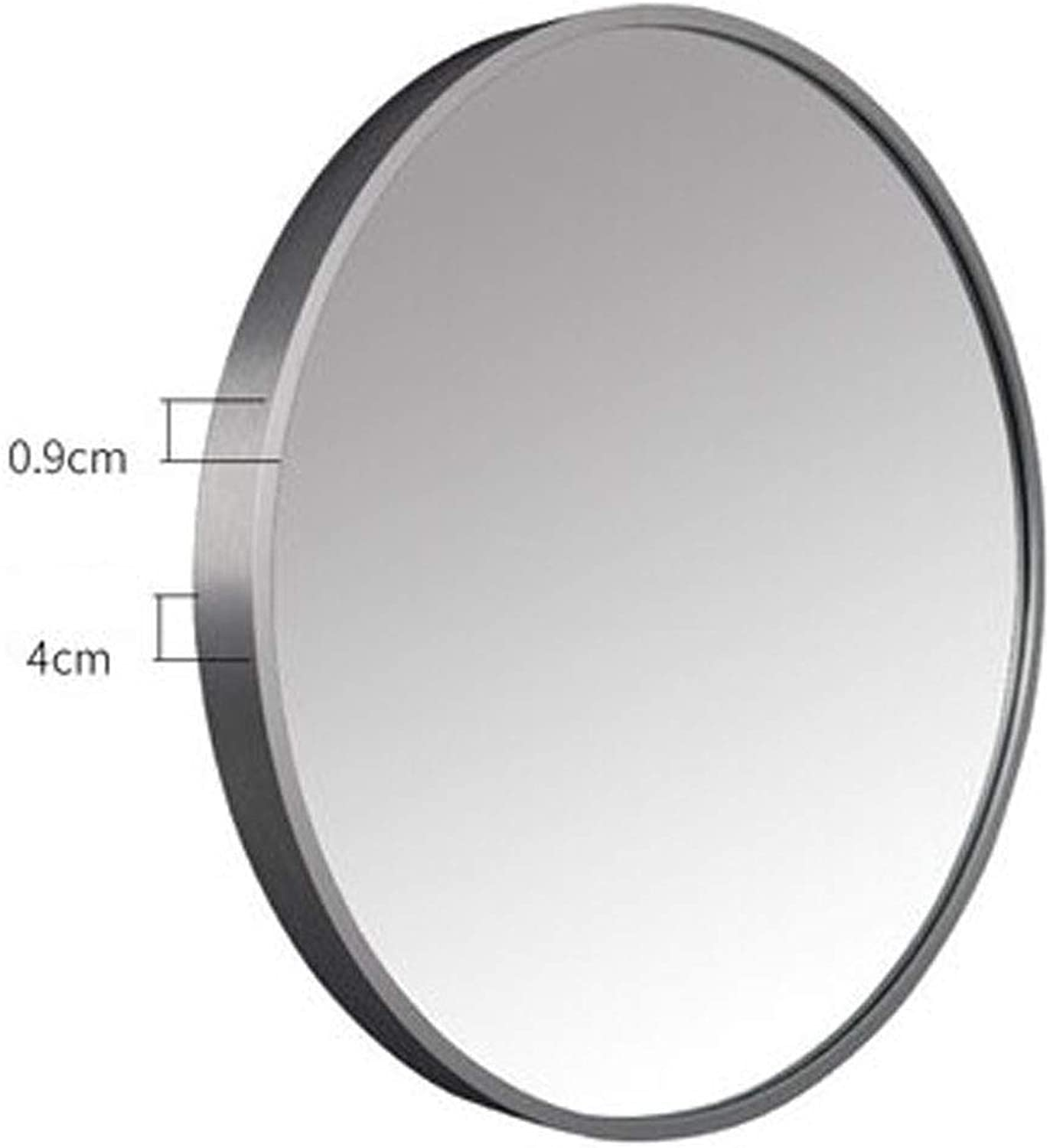Contemporary Brushed Metal Silver Wall Mirror Glass Panel Silver Framed Rounded Circle Deep Set Design