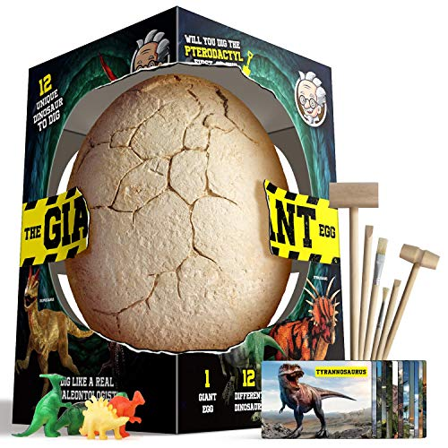 XXTOYS Dino Egg Dig Kit Dinosaur Eggs Jumbo Dino Egg with 12 Different Dinosaur Toys Dino Egg Kit for 5 Kids with 6 Digging Tools Party Archaeology Paleontology Educational Science Gift for Age 3-5
