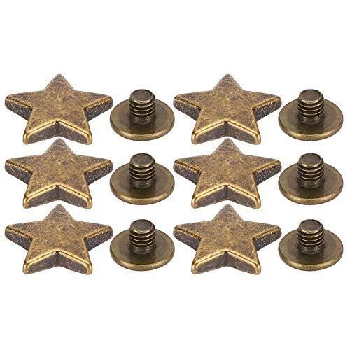 50 juegos de remaches de tachuelas de estrella Tachuelas en forma de estrella con picos Remaches prensados a mano para manualidades de cuero, decoración de ropa, chaquetas(Bronce)