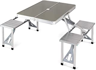 Aluminum Folding Picnic Table Portable Indoor Outdoor Suitcase Camping Table with 4 Seats Bench