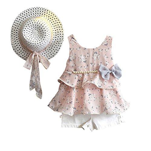 Hirolan Bekleidung 3 Stück Kleinkind Baby T-Shirt+Shorts Kurze Hosen +Sonnenhut Kind Mädchen Outfits Kleider Blumen Weste Sommerkleidung Chiffon Strampler Spielanzug (90, Rosa)