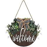 Dremisland Signo de Bienvenida Puerta Frontal Señal Redonda Colgante Coronas de Bienvenida para Casa de Campo Porche Decoración de La Puerta Delantera Letrero de Bienvenida