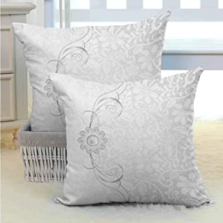 Personalized pillowcase Grey,Lace Inspired Flourish Motifs Background with Bridal Flower Border Wedding Pattern, Grey White Silky Pillowcase Super Soft and Luxurious Pillowcase W14 x L14 inch x 2
