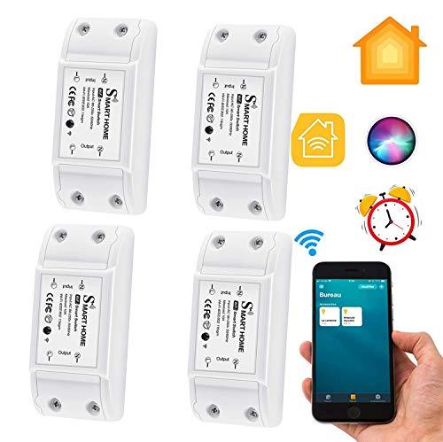 CAMPSLE Interruttore intelligente WiFi, interruttore wireless Controllo vocale Interruttore di controllo app uscita timer remoto, modulo interruttore relè compatibile Homekit Smart Assistant