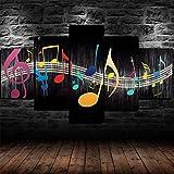 45Tdfc Cuadro En Lienzo 5 Piezas Abstracto Colorido Musical Notas Music símbolo Dormitorio Arte Cartel Pared DecoracióN del Hogar Cuadro Pintura para Sala Estar Listo para Marco