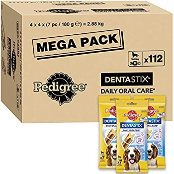 Pedigree Dentastix - Friandises pour moyen chien, 112 bâtonnets à mâcher pour l'hygiène bucco-dentaire (16 sachets de 7 Sticks) - Amazon Pack
