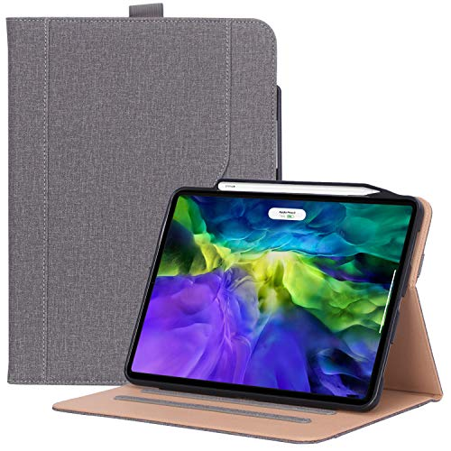 ProCase iPad Pro 11 Case 2nd Generation 2020 & 2018, PU Leather Protective Stand Folio Case Cover with Pencil Holder & Strap [Support Apple Pencil 2 Charging] for iPad Pro 11 Inch 2020 & 2018 –Grey