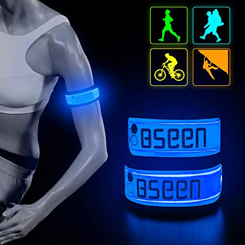 BSEEN LED Armband 2 Pack LED Slap Bracelets, Adjustable Strap Safety Light Armbands Glow in The Dark Night Running Gear for Jogging, Walking, Cycling, Camping Outdoor Sports (Blue)
