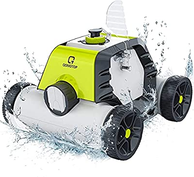 OT QOMOTOP Cordless Robotic Pool Cleaner, Rechargeable Design, Up to 90 Mins Working Time, IPX8 Waterproof, Built-in Water Sensor Technology - Lake Green