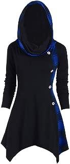 Women's Hoodie Halloween Tree Print Convertible Collar Asymmetrical Knitwear Cloak Tops