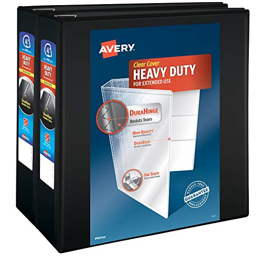 Avery Heavy Duty View 3 Ring Binder, 4' One Touch Slant Ring, Holds 8.5' x 11' Paper, 2 Black Binders (79784)