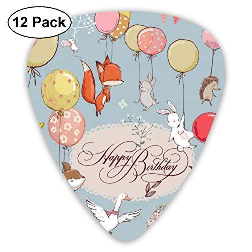 Gitaar Pick Leuke Dieren Vliegen Met Ballonnen 12 Stuk Gitaar Paddle Set Gemaakt Van Milieubescherming ABS Materiaal, Geschikt voor Gitaren, Quads, Etc