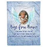Personalized Name Date Photo Memorial Cardinal Guardian Angel Hugs from Heaven Sign in Memory Loss of Loved One Remembrance Bereavement Sympathy Grieving Fleece Sherpa Throw Blanket (Heaven Hug 2)