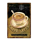 Original Retro Design Caffe Latte Tin Metal Signs Wall Art|Thick Tinplate Print Poster Wall Decoration for Kitchen/Cafe/Coffee Corner