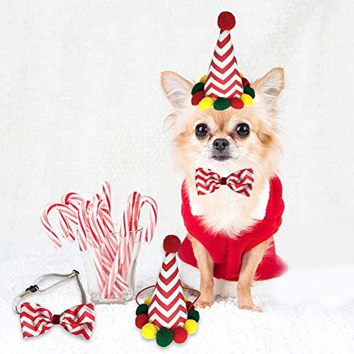 Hete-supply Huisdier Kerstmis Hoofddeksel, Hond Hoed Boog Ties Honden Katten Vakantie Kostuum Decoratie Haaraccessoires, Kerst Cosplay Hoofdband, Striped bow tie set