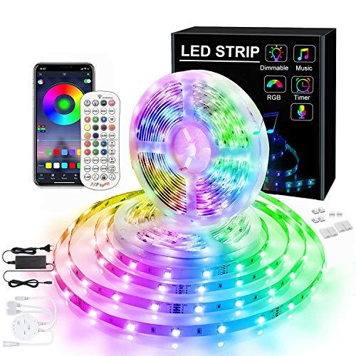 LED-Lichtleiste 10 m Music Sync 5050 LEDs Farbwechsel RGB-Lichtleiste Bluetooth-App-Steuerung mit Fernbedienung und Steuerbox Seilleuchte Bandleuchte Kit 12V für TV Home Room Kitchen Party Xmas