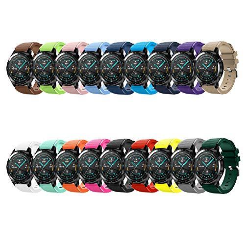 Romacci Conjunto de pulseiras de pulseira de silicone de 22 mm para pulseiras de relógio com superfície de faixa de fivela Substituição da pulseira para HUAWEI WATCH GT 2 46 mm / HONOR MagicWatch 2 46 mm 18 unidades / pacote