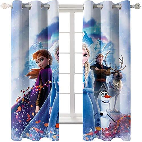 Timcome Frozen 3D Verdunkelungsvorhang, Blickdichte Vorhänge Gardinen mit Ösen, Geräuschreduzierung Kälte und Wärmeisolierun, Kinderzimmer/Wohnzimmer Verdunkelungsvorhang 2 x 75(W) x 166(H) cm