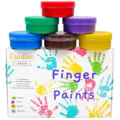 Creative Deco Finger-Farben Kinder-Farben | 6 x 125 ml Becher | Intensive Farben | Set für Kleinkinder | Sicher & Ungiftig | Wasserbasiert | Bastel-Farbe Plakat-Farbe
