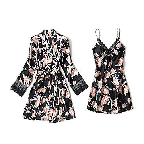 DEBAIJIA Bata Kimono Mujer 2 Piezas Satén Pijama Albornoz Conjunto de Albornoces Sexy Camisón Vestidos de Dormir Transpirable (Negro-XL)