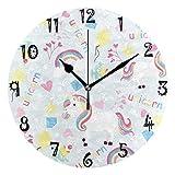 Art Print Amour - Reloj de pared con diseño de unicornio arcoíris, circular, silencioso, no se mancha, para cocina, dormitorio, oficina, escuela, niña, niñas, decoración