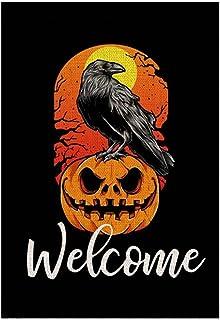 ASKLKD Bannière de Joyeuse Halloween Garden, Truc de Conception d'impression à Double Face ou traite de Jardin de Jardin D...