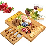 , ChBamboo Cheese Boardeese Platter with Utensils Set and 4 Stainless Steel Cutting Knives Cracker and Meat Serving Tray for Display, Decorations, Cheese Lovers, Gift Idea