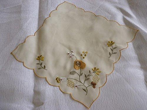 ZHFC european bien broderies serviette mat mouchoir décoration serviette 29 * 29cm 1 bloc,Beige,29 x cm