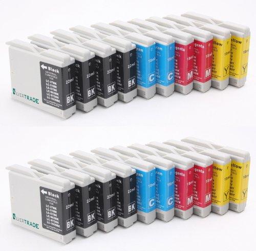 SilverTrade - 20x XL Druckerpatronen für Brother LC1000BK LC970BK (8x schwarz, 4x cyan, 4x magenta, 4x gelb) LC1000BK LC1000Y LC1000C LC1000M LC970BK LC970Y LC970C LC99969CN DCP-135C DCP-150C DCP-155C DCP-330C DCP-350C DCP-540CN DCP-540CN DCP-560CN DCP750CW DCP-7705CN MFC-230C