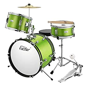 Eastar 16 inch 3 Piece Kids Drum Set Kit with Throne, Cymbal, Pedal & Drumsticks, Metallic Green (EDS-280G)