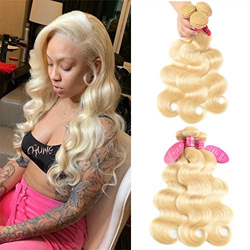 9A Virgin Hair Bundles Sew in Hair Extensions 613 Body Wave Wavy 100% Unprocessed Brazilian Human Hair Weave Hair Weft Extensions for Women 300g 613 Color 16 18 20