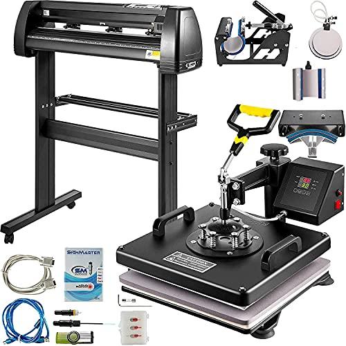 VEVOR Heat Press Machine 15x15 inch 6 in 1 T-Shirt Heat Press and Vinyl Cutter 28 inch Plotter Machine 720mm Paper Feed Vinyl Cutter Plotter